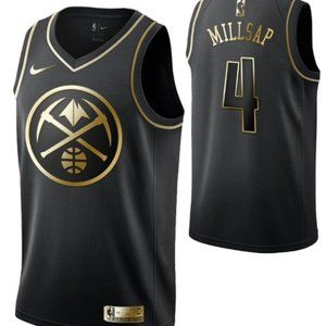 Denver Nuggets #4Paul Millsap Black Golden Edition